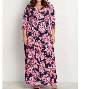 PinkBlush, Pink Floral Draped Plus Maxi Dress 2X